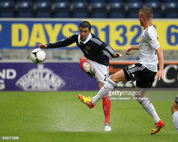 Scotland's Michael Miller and Germany's Yannick Gerhardt during the International Challenge match at The Falkirk Stadium Falkirk PRESS ASSOICIATION...