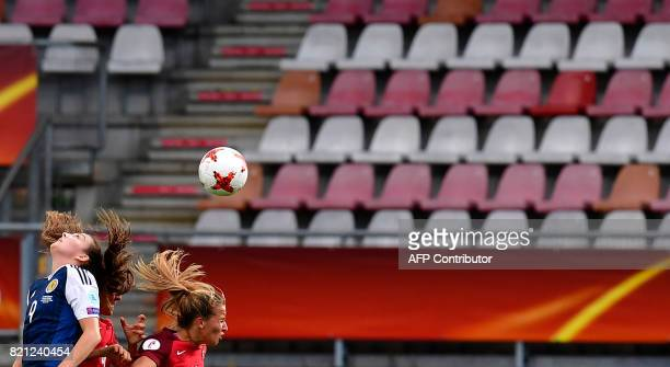 Scotland's midfielder Caroline Weir and Portugal's midfielder Tatiana Pinto head the ball during the UEFA Women's Euro 2017 football tournament...