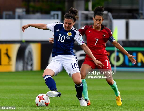 Scotland's midfielder Leanne Crichton vies with Portugal's midfielder Claudia Neto during the UEFA Women's Euro 2017 football tournament between...