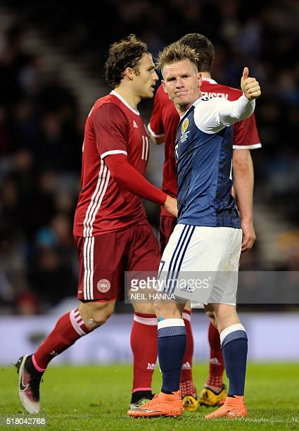 Scotland's midfielder Matt Ritchie gestures during the international friendly football match between Scotland and Denmark at Hampden Park in Glasgow...