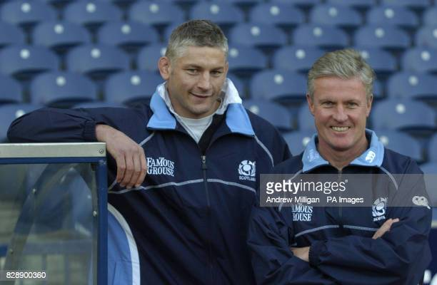 Scotland's new rugby coach Matt Williams and Assistant Coach Todd Blackadder at Murrayfield Stadium in Edinburgh after Williams gave his first press...