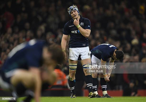 Scotland's number 8 David Denton reacts at the final whistle during the Six Nations international rugby union match between Wales and Scotland at the...