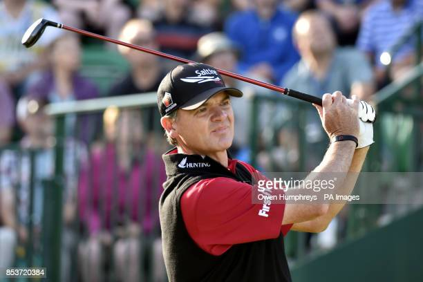 Scotland's Paul Lawrie tees off the 1st during day one of the 2014 Open Championship at Royal Liverpool Golf Club Hoylake