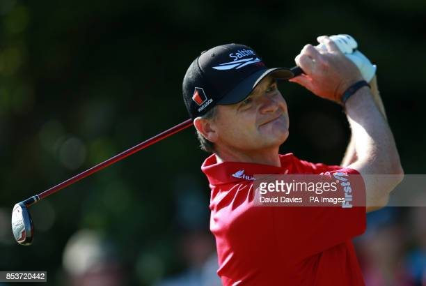 Scotland's Paul Lawrie tees off the 5th during day one of the 2014 Open Championship at Royal Liverpool Golf Club Hoylake