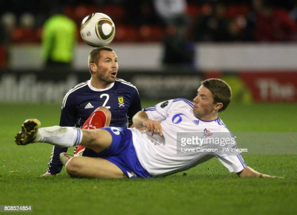 Scotland's Phil Bardsley and Faroe Island's Jann Ingi Petersen battle for the ball during the International Friendly match at Pittodrie Stadium...