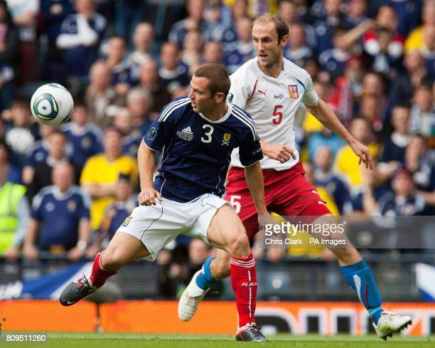 Scotland's Phil Bardsley battles for the ball with Czech Republic's Roman Hubnik during the European Championship Qualifying match at Hampden Park...