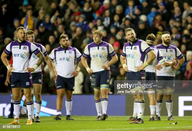Scotland's players dejected after losing their match against the All Blacks in the Autumn International at BT Murrayfield Edinburgh
