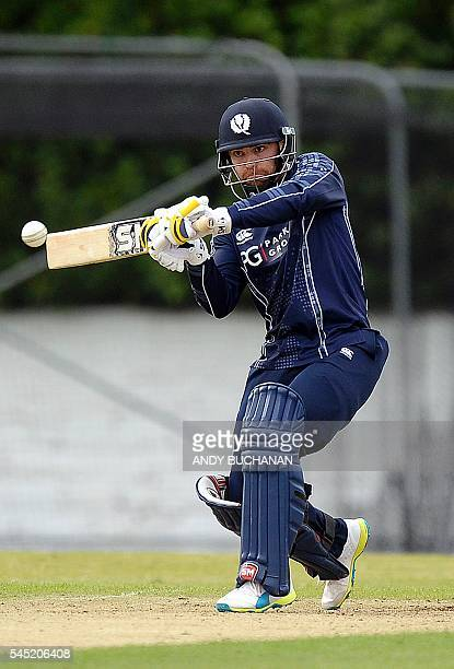 Scotland's Preston Mommsen plays a shot during the 2nd One Day cricket International between Scotland and Afghanistan at The Grange in Edinburgh...