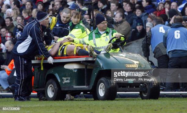 Scotland's Rory Lamont is carried off after picking up an injury during the RBS 6 Nations match at Murrayfield Edinburgh