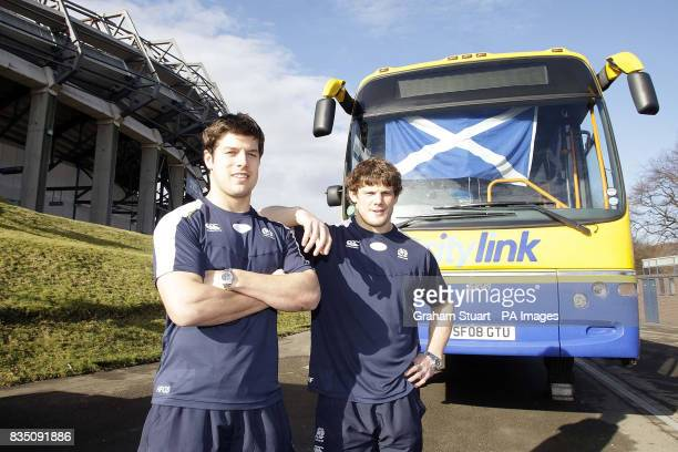 Scotland's Ross Ford and Hugo Southwell give Citylink buses the perfect lift ahead of the Scotland v Italy match on Saturday February 28 2009 The...