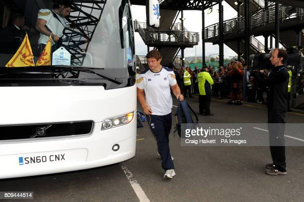 Scotland's Ross Ford makes his way off the team bus