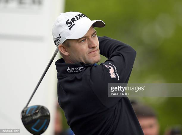 Scotland's Russell Knox watches his shot from the 9th tee during his final round on the fourth day of the Irish open golf tournament at The K Club...