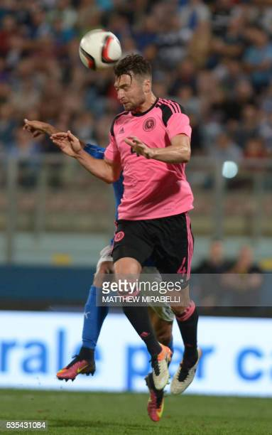 Scotland's Russell Martin heads the ball during the International friendly football match Italy vs Scotland at the National Stadium in Ta'Qali Malta...