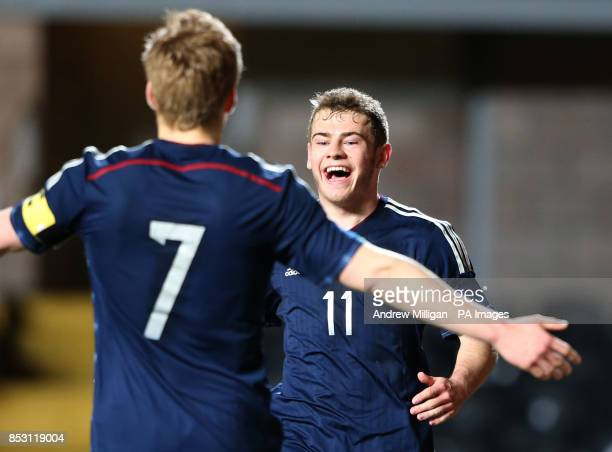 Scotland's Ryan Fraser celebrates scoring during the International Friendly at Tannadice Park Dundee