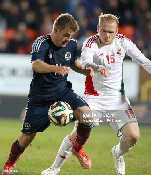 Scotland's Ryan Fraser challenges Hungary Patrik Poor battle for the ball during the International Friendly at Tannadice Park Dundee