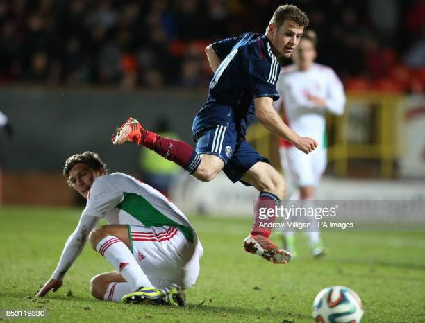 Scotland's Ryan Fraser challenges Hungary's Balint Vecsei during the International Friendly at Tannadice Park Dundee