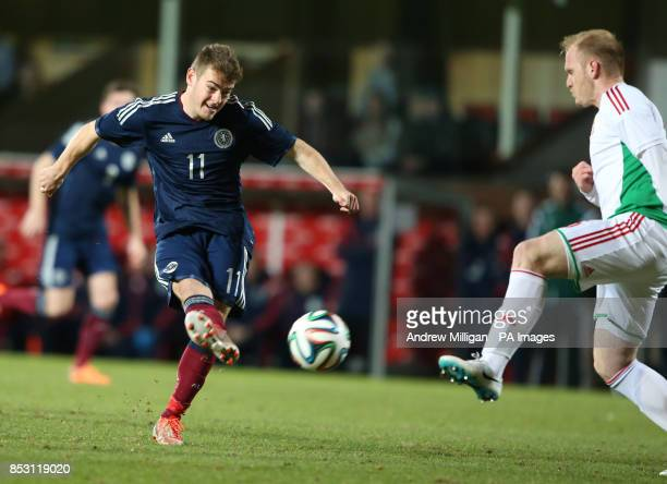 Scotland's Ryan Fraser has a shot on goal during the International Friendly at Tannadice Park Dundee