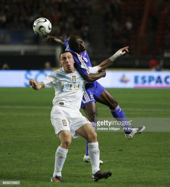 Scotland's Scott Brown challenges France's Claude Makelele during the European Qualifier at the Parc des Princess in Paris