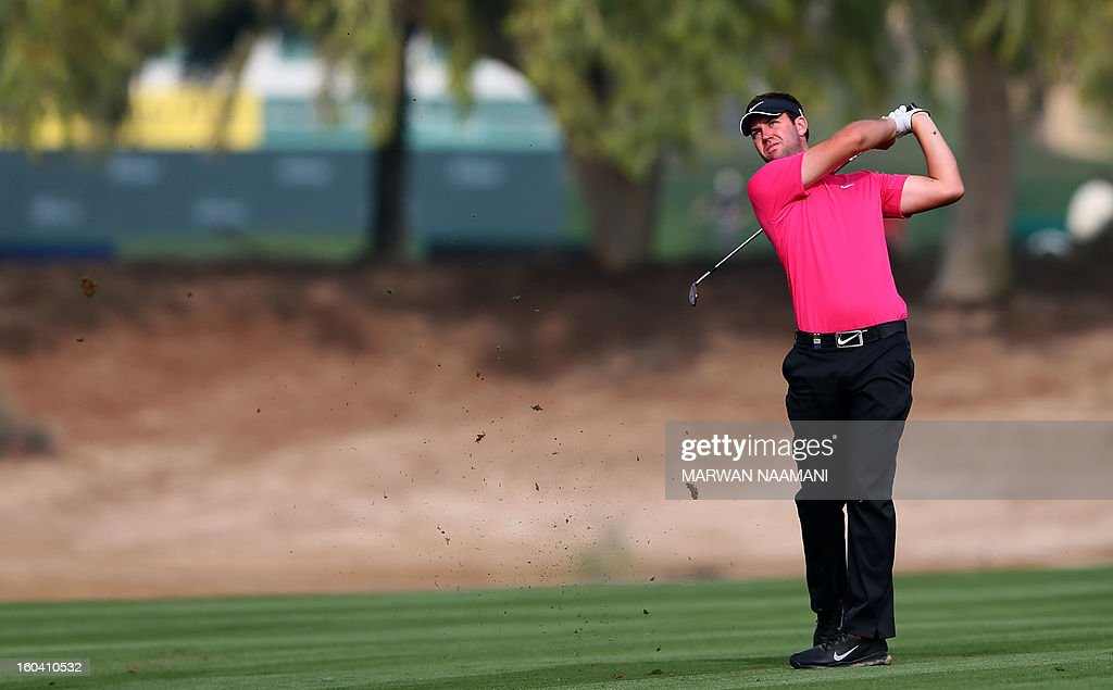Scotland's Scott Jamieson hits off the tee box during the first round of the Dubai Desert Classic golf tournament in the Gulf emirate of Dubai on January 31, 2013.