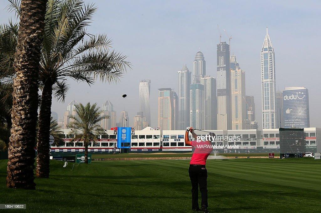 Scotland's Scott Jamieson hits off the tee box during the first round of the Dubai Desert Classic golf tournament in the Gulf emirate of Dubai on January 31, 2013.