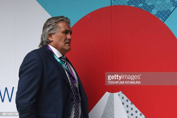 Scotland's Scott Johnson arrives at the Kyoto state guesthouse to attend the Rugby World Cup Japan 2019 pool draw in Kyoto on May 10 2017 / AFP PHOTO...