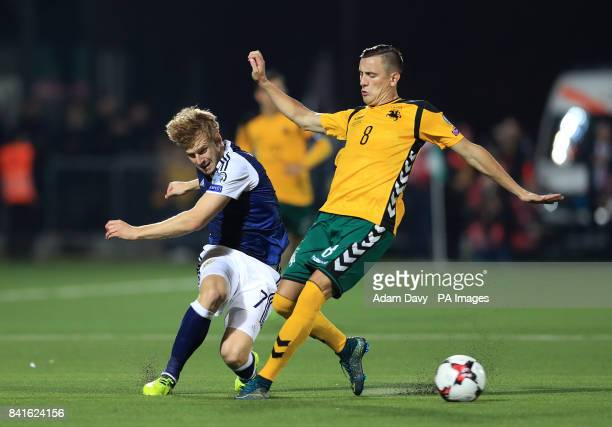 Scotland's Stuart Armstrong and Lithuania's Egidijus Vaitkunas battle for the ball during the 2018 FIFA World Cup Qualifying Group F match at the LFF...
