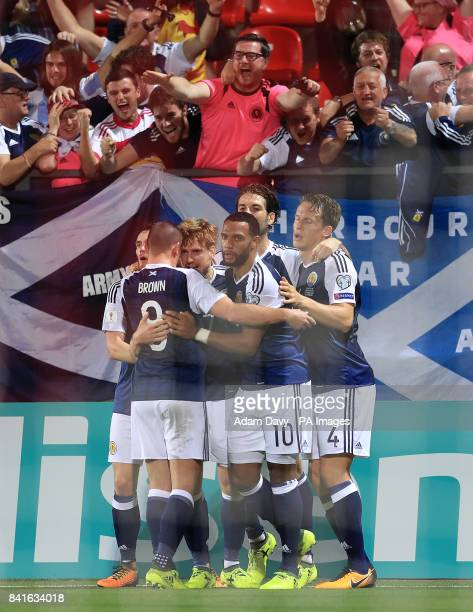 Scotland's Stuart Armstrong celebrates with his teammates after scoring his side's first goal during the 2018 FIFA World Cup Qualifying Group F match...