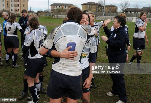 Scotland's Susie Brown hugs Cara D'Silva as they celebrate victory during the Womens 6 Nations Championship match at Meggetland Edinburgh