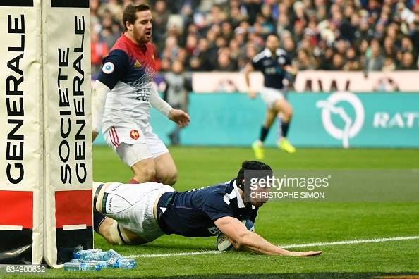 Scotland's Tim Swinson scores a try during the Six Nations international rugby union match between France and Scotland at the Stade de France in...