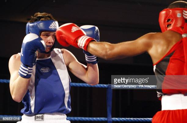 Scotland's Tommy Philbin fights England's Jordan Dennis