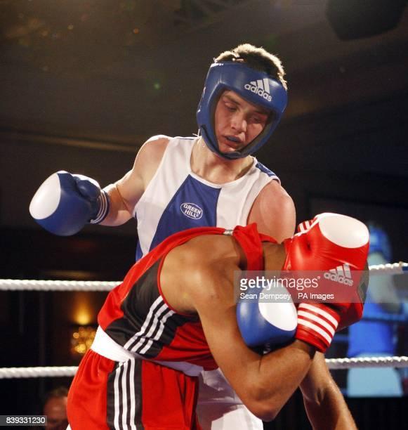 Scotland's Tommy Philbin fights England's Jordan Dennis