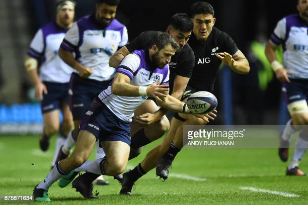 Scotland's wing Tommy Seymour controls the ball during the international rugby union test match between Scotland and New Zealand at Murrayfield...