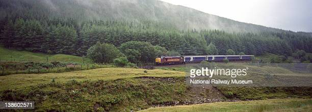 ScotRail Caledonian Sleeper from London Euston Station approaching the Horseshoe Curve on the West Highland Line after leaving Upper Tyndrum 2000