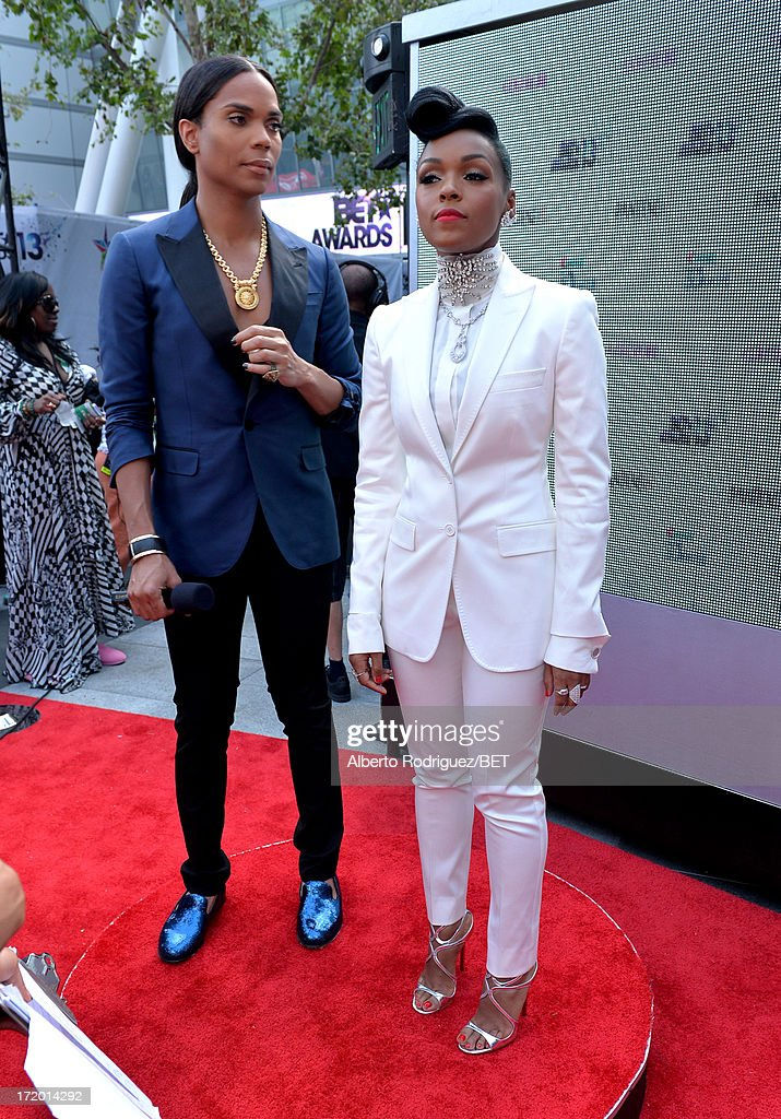 B. Scott and recording artist <a gi-track='captionPersonalityLinkClicked' href=/galleries/search?phrase=Janelle+Monae&family=editorial&specificpeople=715847 ng-click='$event.stopPropagation()'>Janelle Monae</a> attend the P&G Red Carpet Style Stage at the 2013 BET Awards at Nokia Theatre L.A. Live on June 30, 2013 in Los Angeles, California.