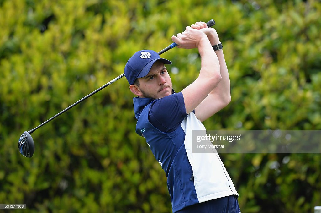 Scott Anderson of Stone Driving Range plays his first shot on the 1st tee during the PGA Assistants Championships - Midlands Qualifier at the Coventry Golf Club on May 26, 2016 in Coventry, England.