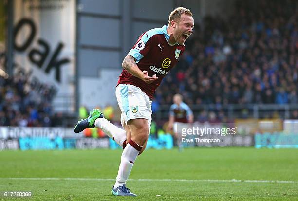 Scott Arfield of Burnley celebrates scoring his team's second goal during the Premier League match between Burnley and Everton at Turf Moor on...