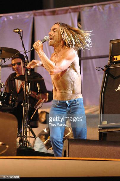 Scott Asheton and Iggy Pop of The Stooges during Little Steven's Underground Garage Festival Presented by Dunkin' Donuts Show August 14 2004 at...
