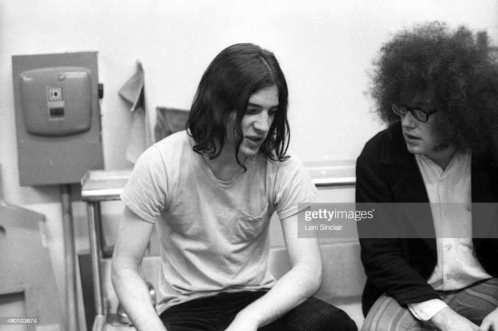 Scott Asheton of The Stooges and Rob Tyner of MC 5 backstage at the Birmingham Palladium in Birmingham, Michigan.