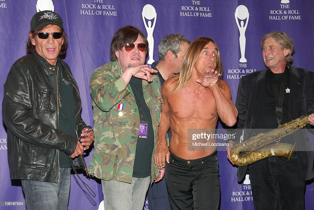 Scott Asheton, Ron Asheton, Mike Watt, Iggy Pop and Steve MacKay of The Stooges pose in the press room at the 2008 Rock and Roll Hall of Fame Induction Ceremony at The Waldorf-Astoria Hotel on March 10, 2008 in New York City.