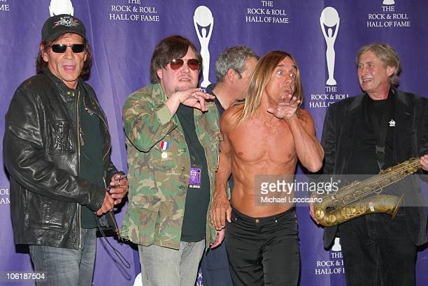 Scott Asheton Ron Asheton Mike Watt Iggy Pop and Steve MacKay of The Stooges pose in the press room at the 2008 Rock and Roll Hall of Fame Induction...