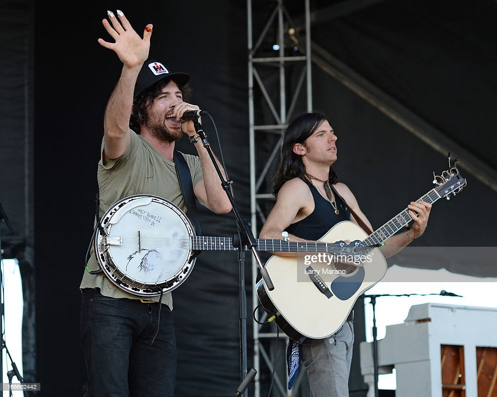 Scott Avett and Seth Avett of The Avett Brothers perform during the Rock The Oceans Tortuga Festival on April 14, 2013 in Fort Lauderdale, Florida.
