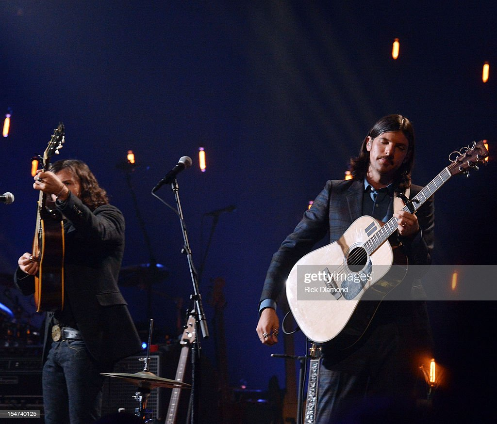 Scott Avett and Seth Avett perform during CMT Crossroads: The Avett Brothers And Randy Travis tape at The Factory, Liberty Hall in Franklin, Tennessee on October 24, 2012 The Avett Brothers And Randy Travis airs only on CMT November 23rd 2012