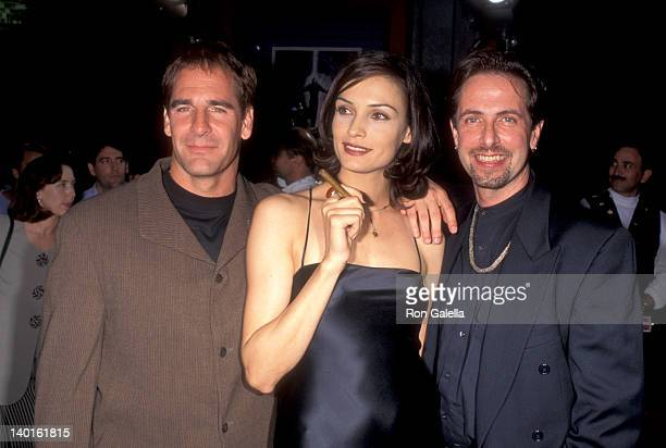Scott Bakula Famke Janssen and Clive Barker at the Premiere of 'Lord of Illusions' Mann's Chinese Theatre Hollywood