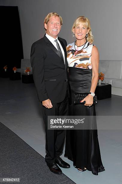 Scott Barbour and Carolyn Powers attend the 2015 MOCA Gala presented by Louis Vuitton at The Geffen Contemporary at MOCA on May 30 2015 in Los...