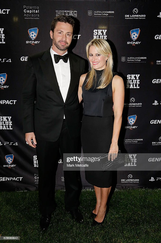 Scott Barlow and Alina Barlow pose during the Sydney FC Sky Blue Ball at the Sydney Cricket Ground on May 6, 2016 in Sydney, Australia.