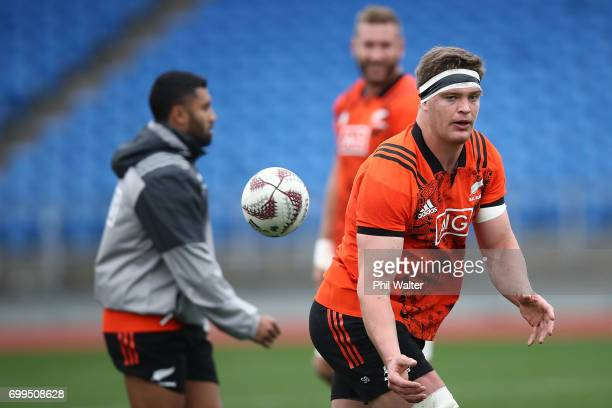 Scott Barrett of the All Blacks during a New Zealand All Blacks training session at Trusts Stadium on June 22 2017 in Auckland New Zealand