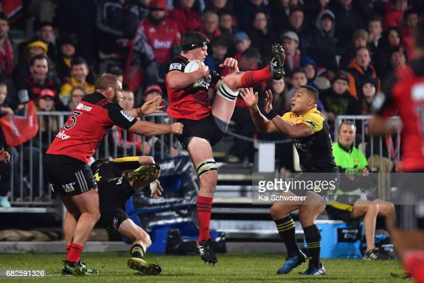 Scott Barrett of the Crusaders charges forward during the round 12 Super Rugby match between the Crusaders and the Hurricanes at AMI Stadium on May...