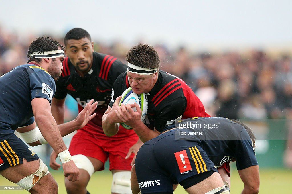 Scott Barrett of the Crusaders on the charge during the Super Rugby trial match between the Highlanders and the Crusaders at Fred Booth Park on February 11, 2016 in Waimumu, New Zealand.