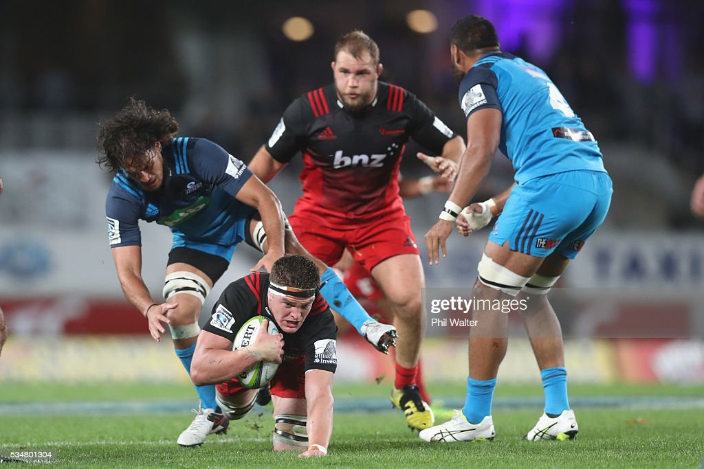 Scott Barrett of the Crusaders scrambles forward during the round 14 Super Rugby match between the Blues and the Crusaders at Eden Park on May 28, 2016 in Auckland, New Zealand.