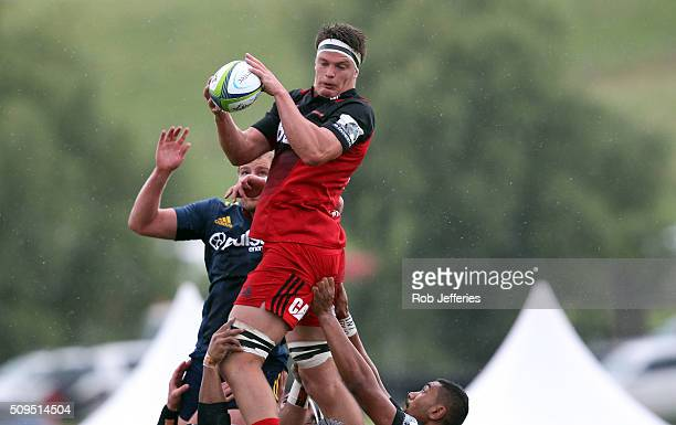 Scott Barrett of the Crusaders takes clean lineout ball during the Super Rugby trial match between the Highlanders and the Crusaders at Fred Booth...